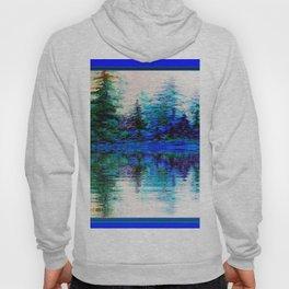 BLUE SCENIC MOUNTAIN PINES LAKE REFLECTION ART  PATTERNS Hoody
