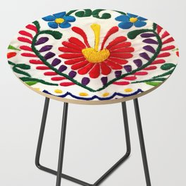 Red Mexican Flower Side Table