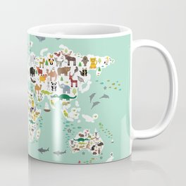 Cartoon animal world map for children, kids, Animals from all over the world, back to school, mint Coffee Mug