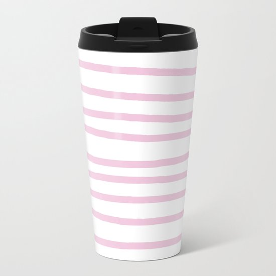 Simply Drawn Stripes in Blush Pink on White Metal Travel Mug