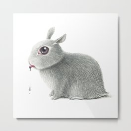 the rabbit drooling black Metal Print