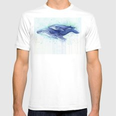 Humpback Whale Watercolor Mom and Baby Painting Whales Sea Creatures MEDIUM Mens Fitted Tee White