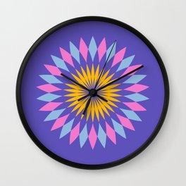Purple circle blue and orange pattern art Wall Clock