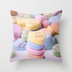 I Love You - Candy Hearts Throw Pillow