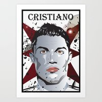 ronaldo Art Prints featuring Cristiano Ronaldo by Colo Design
