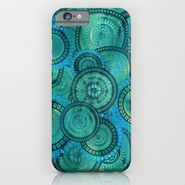 Gentle Teal and blue Circular Tribal  pattern iPhone Case