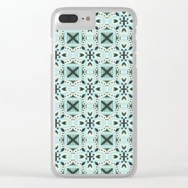 Classic green ivory black Italian motif pattern Clear iPhone Case