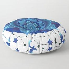Blue monochromatic mandala dream catcher Floor Pillow