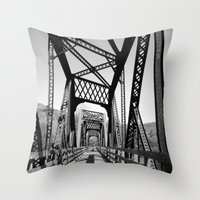 bridge Throw Pillows featuring Bridge by Danielle Podeszek