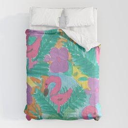 Tropical Flamingo Jungle Comforters