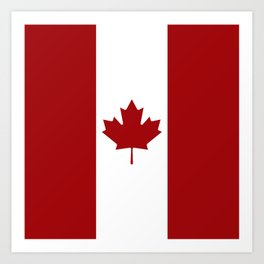 Canada: Canadian Flag (Red & White) Art Print