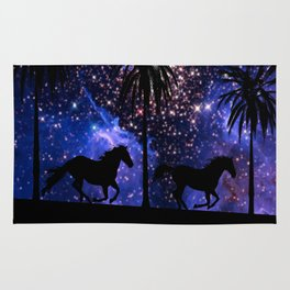 Galloping horses under starry sky Rug