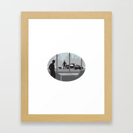 Office Worker Looking Through Window Oval Woodcut Framed Art Print