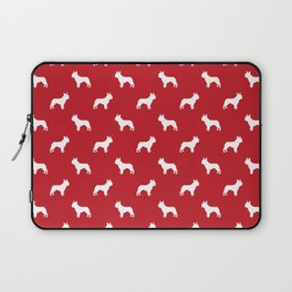 Boston Terrier pet silhouette red and white minimal dog lover gifts Laptop Sleeve