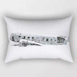 Plane Wreck in Iceland in Winter - Landscape Photography Minimalism Rectangular Pillow