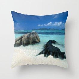Seychelles Tropical Island Paradise White Sand Beach Throw Pillow