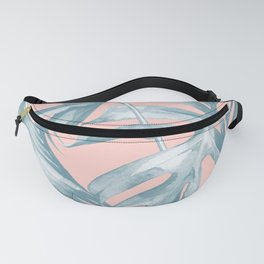 Tropical Leaves Ocean Blue on Coral Pink Fanny Pack