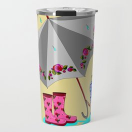 The Beauty of A Rainy Day with Beige Background Travel Mug