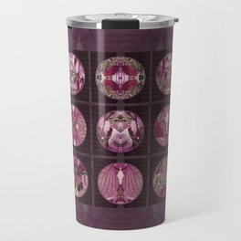 Red Shiso Positive Messages Quilt Art Travel Mug