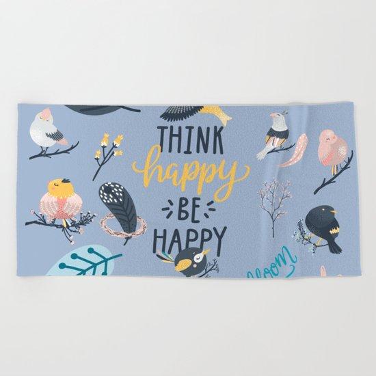 Happy birds Beach Towel