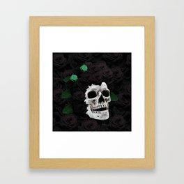 Flowers Black Skull Framed Art Print