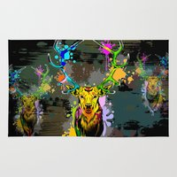 popart Area & Throw Rugs featuring Deer PopArt Dripping Paint by BluedarkArt