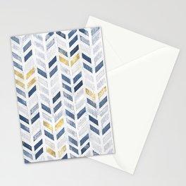 Herringbone chevron pattern.Indigo faux gold acrylic canvas Stationery Cards