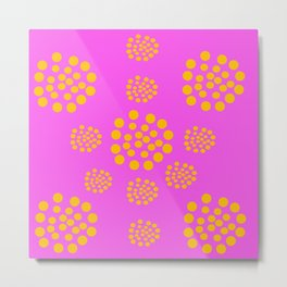 Fuchsia Orange Geometric Abstract Metal Print