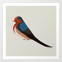 swallow Art Prints featuring Swallow by Reimena Ashel Yee