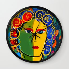 The Green Yellow Pop Girl Portrait Wall Clock