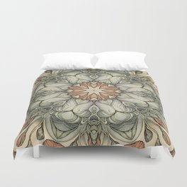abstract flowers hand drawn and  kaleidoscope mandala Duvet Cover