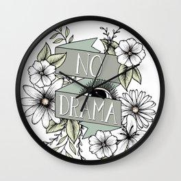 No Drama - Green Wall Clock