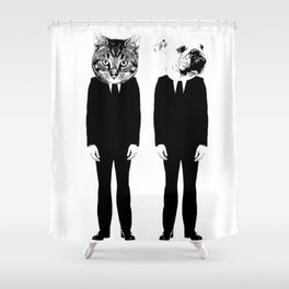 The Cat and Dog Business Men Shower Curtain