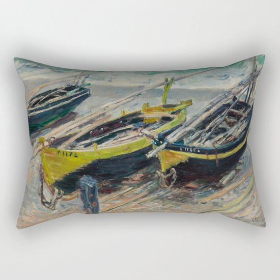 Claude Monet - Three Fishing Boats Rectangular Pillow