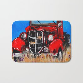 Uncle John's Old Truck Grandpa Red Work Truck Vintage Antique Farm Ranch Farmer Rancher Field Bath Mat