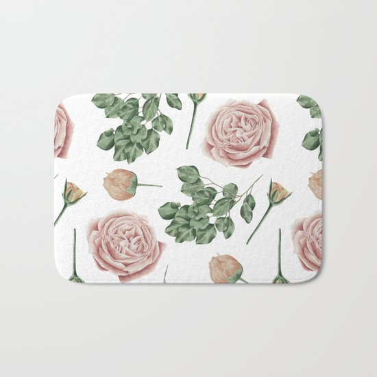 Flower Shop Roses Pattern White Bath Mat