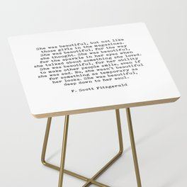 She Was Beautiful, F. Scott Fitzgerald, Quote Side Table