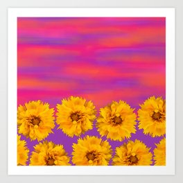 Yellow Floral Sunset Art Print