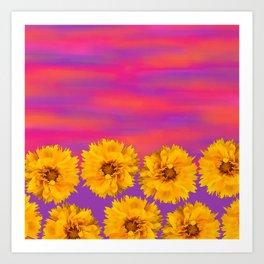 Yellow Floral Sunset Art Print