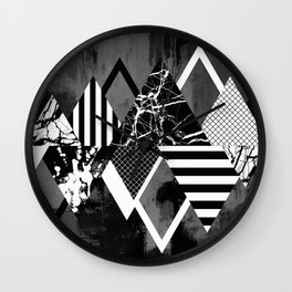 STAND OUT! In Black And White - Abstract, textured geometry! Wall Clock