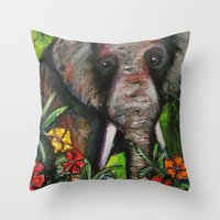 dumbo Throw Pillows featuring Dumbo by Megan Bailey Gill