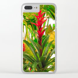 WHITE ABSTRACT GREEN-YELLOW JUNGLE & TROPICAL RED FLOWERS Clear iPhone Case