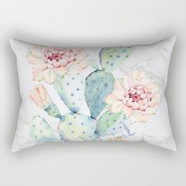 Marble Cactus Succulent Watercolor Painting Rectangular Pillow