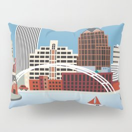 Rochester, New York - Skyline Illustration by Loose Petals Pillow Sham