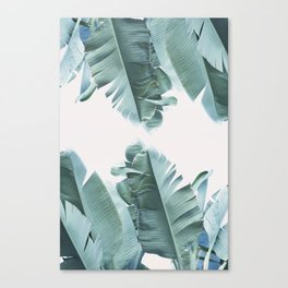 Blue Tropical Banana Leaf Plant Canvas Print