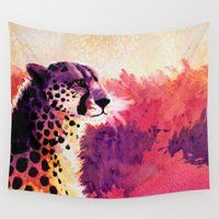 cheetah Wall Tapestries featuring Cheetah by Fallen Apple Designs