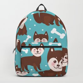 funny brown husky dog and white bones, Kawaii face with large eyes and pink cheeks blue background Backpack