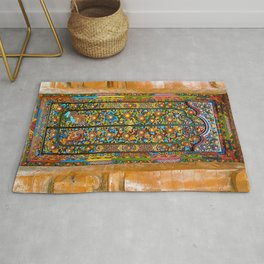 Colorful Asian Motif Style Doorway Photograph Rug