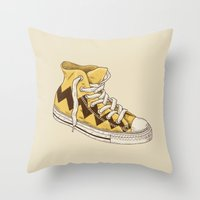 chuck Throw Pillows featuring Chuck by Terry Fan
