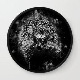 hedgehog watercolor splatters black white Wall Clock